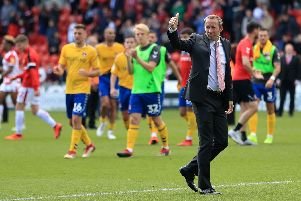 Charlton Athletic manager Lee Bowyer gives his fans the thumbs up.