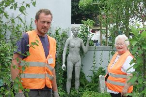 Garden designer with Bobbie Roberts of Doncaster Deaf Trust in award winning garden in 2011