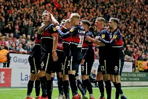 Doncaster Rovers celebrate Andy Butler's goal which drew their semi-final level