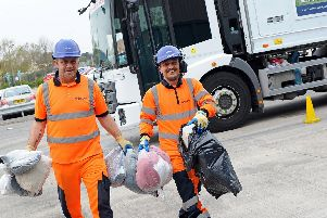 Suez recycling driver James Gravil and Chris Gallagher, team leader, pictured. Picture: Marie Caley NDFP-16-04-19-SuezGrants-2