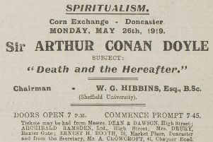 Sir Arthur Conan Doyle visit advertised in the Doncaster Gazette 1919