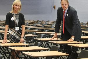 Julie Richards, principal and chief executive of Chesterfield College, and Chesterfield MP Toby Perkins.