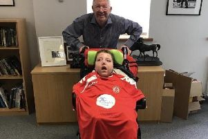 Sir Alex Ferguson with Joseph Kendrick, publicising this weekend legends game at Ashton Town FC between Latics and Manchester United
