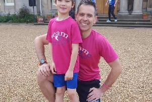 Alessandro Verrico, six, who has completed his 16th Park run, with his father Paul