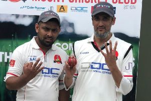 Yahya Akudi (right) taking 4 wickets and ahmed Ali Lunat (left) taking 3 wickets for Mount's Sunday side