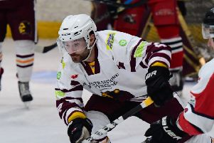 GOOD MOVE: Leeds Chiefs' player-coach Sam Zajac, pictured in action for Whitley last year, is keen to get started for the club's inaugural season in the new NIHL National. Picture courtesy of Colin Lawson.