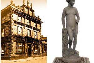 The rooftop statues were rescued when the Port Admiral pub  was demolished in 1969. Prestons Crown Court building now stands on the site.