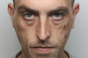 Pictured is Darren Catherall, 34, formerly of Milton Crescent, Chesterfield, who has been jailed for 16 weeks after he breached a non-molestation order and a suspended prison sentence.