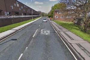 A pedestrian had to jump back from the road to avoid being hit by Nathan Furnisse'scar on Lower Town Street in Bramley.'Image: Google