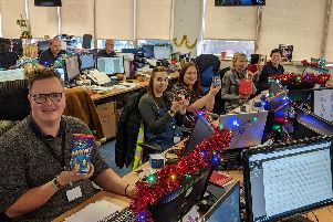 Workers at Microlise find Christmas presents at their desks.