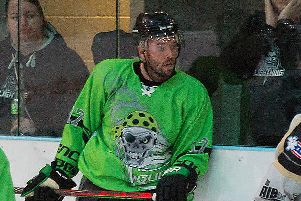 ON TARGET: Hull Pirates' player-coach Jason Hewitt scored twice in the win over Bracknell Bees. Picture courtesy of Tony Sargent.