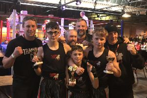 Training Cave boxers Aaron Bedford, Iyran Walker and Brandon Brearley with coaches Jack Sunderland, Steven Auty, Richard Atkinson and Chris Ineson.