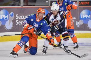 SIDELINED: Sheffield Steelers' player-assistant coach Mark Matheson, left, is ruled out for up to six weeks. Picture: Dean Woolley.