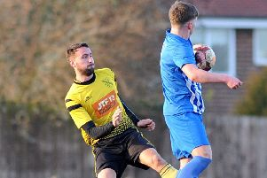 Hucknall Town FC v Staveley Miners Welfare Reserves, pictured is Sam Simms