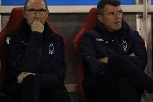 Nottingham Forest manager Martin O'Neill, left, and assistant Roy Keane.