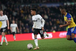 Duane Holmes in action for Derby.