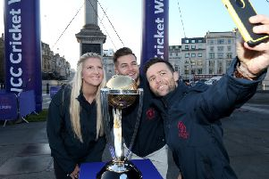 Chris Hughes, Becky Adlington and Harry Judd take a selfie photograph with the ICC Cricket World Cup Trophy as they celebrate 100 days-to-go to the Cricket World Cup in Trafalgar Square. (Photo by Jack Thomas/Getty Images for CWC19)
