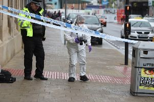 The scene in Barnsley town centre after a woman with paranoid schizophrenia allegedly stabbed one man and tried to attack another
