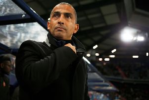 Rennes' French coach Sabri Lamouchi looks on before the French L1 football match between Stade Malherbe Caen and Stade Rennais Football Club at the Michel d'Ornano stadium in Caen, north-western France, on November 3, 2018. (Photo by CHARLY TRIBALLEAU / AFP)        (Photo credit should read CHARLY TRIBALLEAU/AFP/Getty Images)