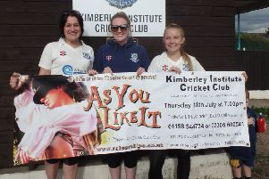 Three of the cricket club's women players promote the play.