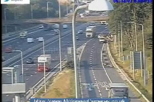 Breakdown on M1 exit road at junction 25