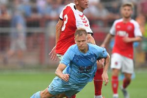 Matej Vydra is fouled by Danny Andrew