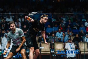 James Willstrop plays a backhand on his way to victory over Karim Abdel Gawad in Doha.Picture courtesy of PSA World Tour.