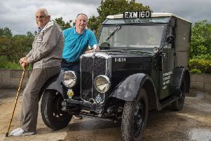 Stan Smallwod and nephew Richard Bailey, with their 1938 Morris General Post Office (GPO) line van which took part in last year's show