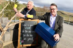Chairman of Northumberland National Park, Coun Glen Sanderson and chief executive Tony Gates with the time capsule that is to be buried at The Sill.
