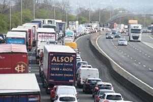 Traffic on the M6 following the collision
