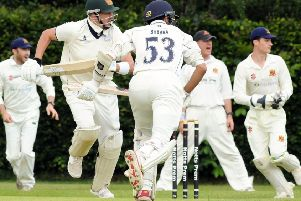 Papplewick v Wollaton 'Papplewick opener, Sam Ogrizovic calls for a run from partner Pete Bhabar.