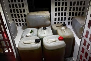 The 11 large fuel containers. PIC: North Yorkshire Police