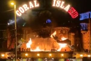 The fire engulfed the iconic pirate-themed marquee shortly before midnight, but remarkably, the amusement arcade itself has not suffered any damage.
