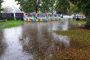 Rivers of rain water are flowing through the Fan Zone on the Stray leaving Yorkshire 2019 UCI organisers no choice but to close the park and cancel tonight's entertainment.
