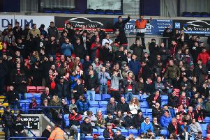 Fleetwood Town fans at Bolton, where concerns were raised over stewarding