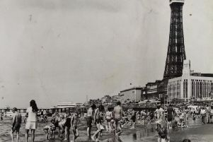 A crowded Blackpool Beach in the 1970's