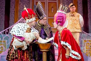 Jack Lansbury, Colin Burnicle, Martin Barrass and (background) Howie Michaels in Sleeping Beauty at York Theatre Royal. Photo: Robling Photography
