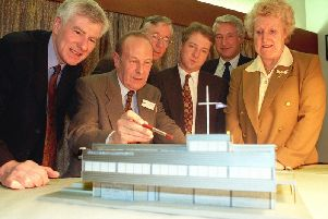 The late architect Eric Forster with a model of the proposed new clubhouse for Blackpool and Fleetwood Yacht Club, which he took to the existing club HQ for local councillors to see in 1998. From L-R: Coun Jim Lawrenson, Mr Forster, Coun Bernard Ryder, Coun Richard Anyon, club commodore Ken Hollands, and Coun Jean Black (Picture: Rob Lock for JPIMedia)
