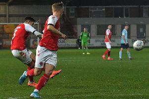 Danny Andrew makes it 2-1 to Fleetwood but there were to be more twists to this EFL Trophy tie