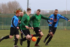 Action from Foxhall v FC Rangers in the Berry Beds Division Two Cup Picture: KAREN TEBBUTT