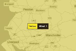 Lancashire could face winds of up to 80mph this weekend. (Credit: Met Office)