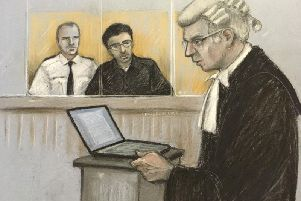 Court artist sketch dated 27/01/20 by Elizabeth Cook of Duncan Penny QC (prosecution) on his feet as Hashem Abedi, younger brother of the Manchester Arena bomber, sits in the dock at the Old Bailey in London accused of mass murder (Picture: Elizabeth Cook/PA Wire)