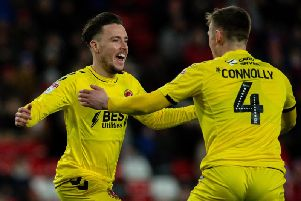 Barrie McKay celebrates his first Fleetwood goal with Callum Connolly