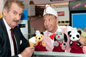 John Challis with Sooty and Sweep and Richard Cadell