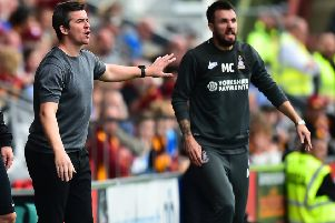 Fleetwood Town boss Joey Barton and former Bradford City manager Michael Collins
