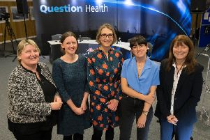 Jane McNicholas, Consultant Oncoplastic Breast Surgeon; Dr Anna MacPherson, Consultant in Palliative Medicine at East Lancashire Hospitals NHS Trust; Dr Karen Oliver, GP Partner at Lancaster Medical Practice; Lauren Mahon, presenter of Radio 5Lives You, Me and the Big C; and Professor Kinta Beaver, Professor of Cancer Care at the University of Central Lancashire.
