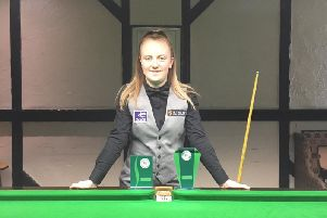 Stephanie Daughtery with her two titles from the Belgium Open.