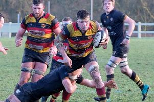 Jonny Coser scored Harrogate RUFC's final try in Saturday's victory at Alnwick. Picture: Richard Bown