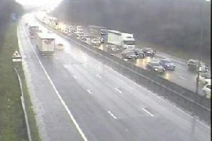 A crash on the  M6 northbound between junctions J23 and J26 is causing considerable delays to commuters this morning.