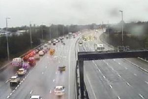 Flooding has forced Highways officers to close the exit slip road at Charnock Richard Services near Chorley.